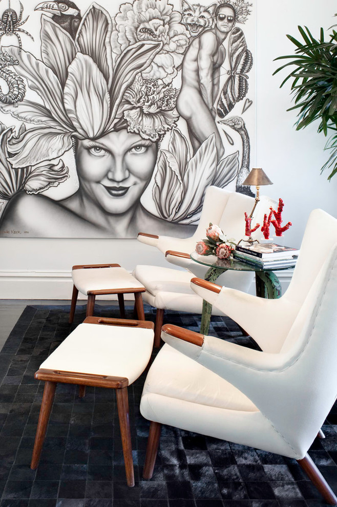 Mid Century Lounge Chair Family Room Eclectic with Black and White Art Black Tiled Area Reg Contrast Cultural Art Custom