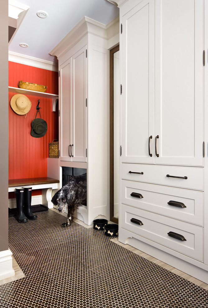 Midwest Dog Crates Entry Traditional with Beadboard Wall Black and White Tile Floor Black Boots Coat Rack Crown