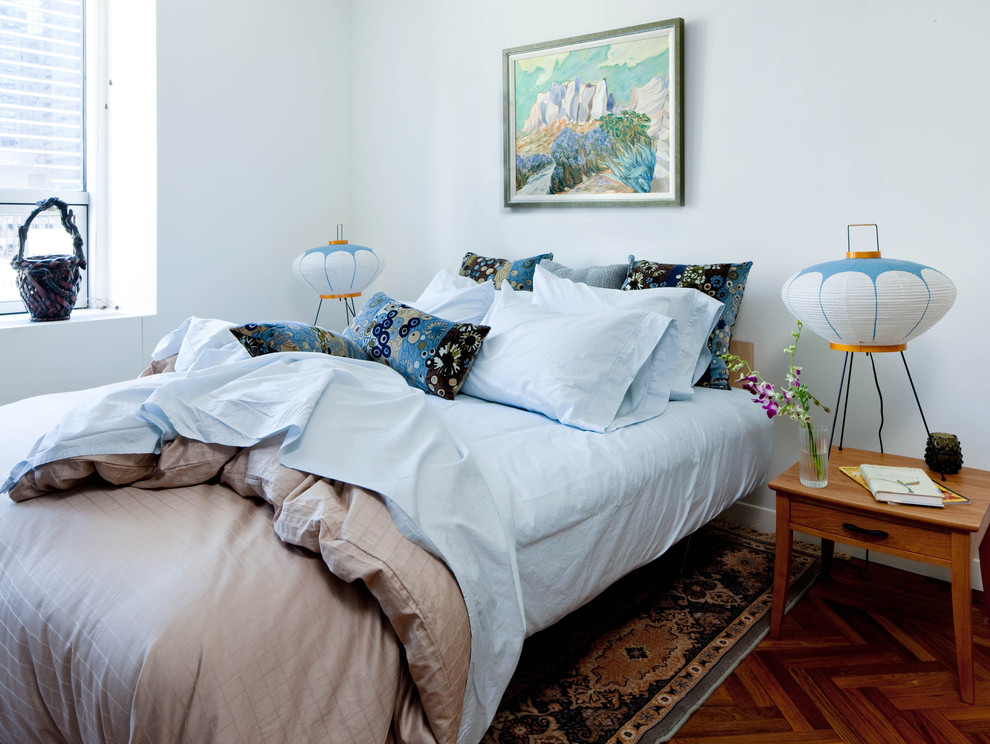 mighty mite vacuum Bedroom Midcentury with area rug Asian inspired bed pillows Bedroom bedside table blue bedding blue