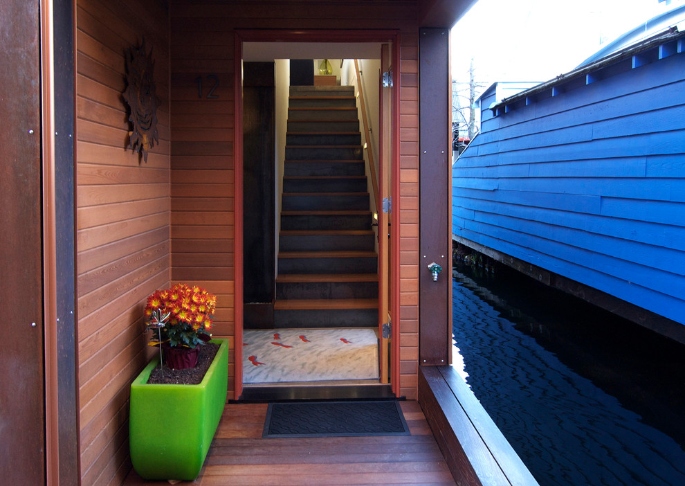 Mighty Mite Vacuum Entry Contemporary with Contemporary Door Mat Green Planter Houseboat Modern Rectangular Planter Stained Wood Siding