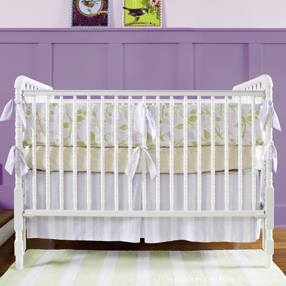 Mini Crib Sheets Nursery Contemporary with Area Rug Crib Bedding Girls Room Nursery Purple Walls Spindle Crib Striped
