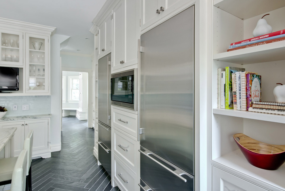Mini Refrigerator with Freezer Kitchen Victorian with Built in Shelves Built in Storage Chevron Dark Floor Glass Front Cabinets