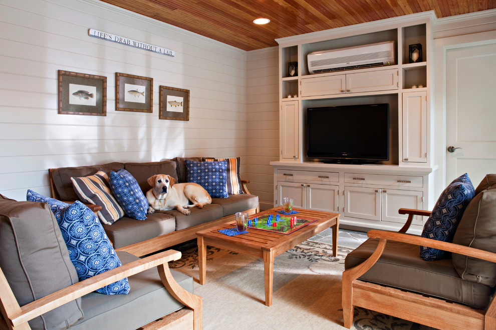 mini window air conditioner Family Room Traditional with area rug built-in media cabinet cushions family room framed art horizontal paneling