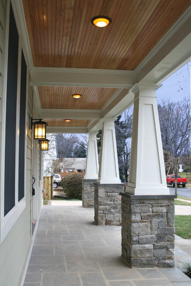 Minka Lavery Lighting Exterior Traditional with Craftsman Style Exterior Columns Stone Base Stone Floor Tapered Columns Wood Ceiling