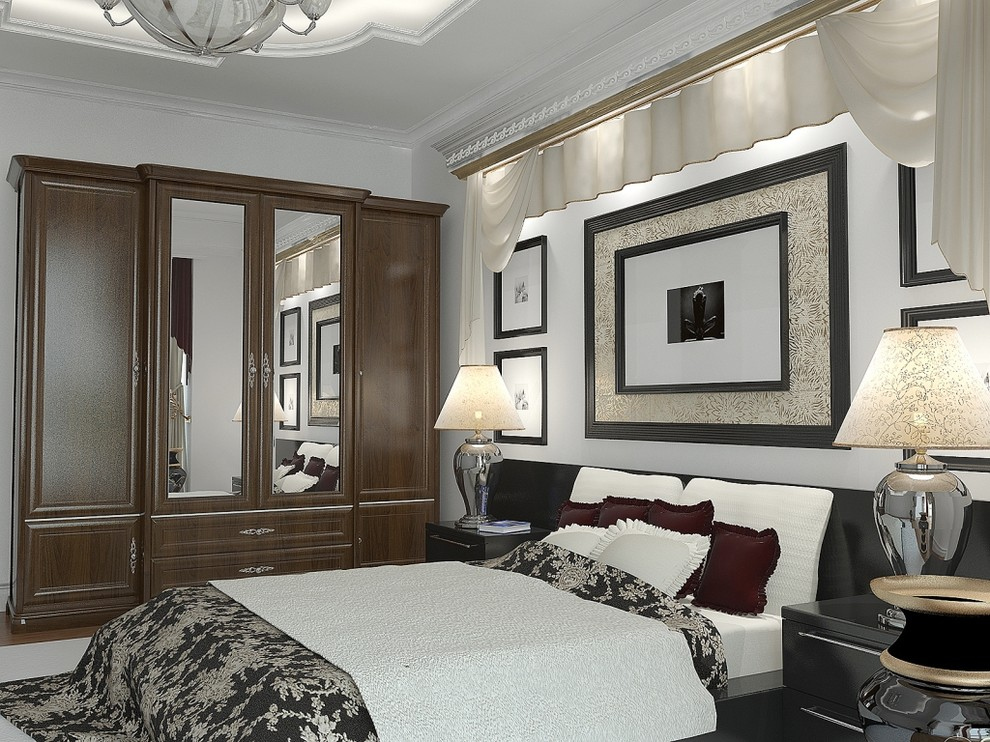Mirrored Armoire Bedroom Contemporary with Artwork Black and White Bedding Black Headboard Chrome Lamp Base Dark Picture