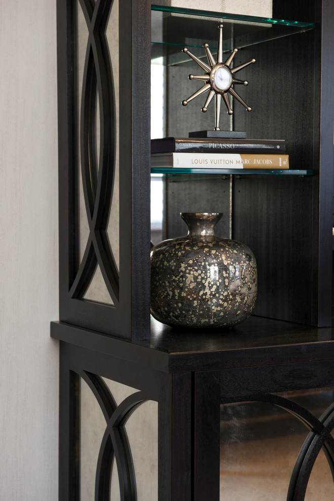 Mirrored Armoire Bedroom Transitional with Concentric Circle Design on Mirror Panels Mirrored Back Modern Cabinetry Starburst Standing