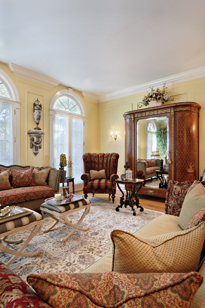 Mirrored Armoire Living Room Traditional with Antiques Area Rug Armoire Crown Molding Decorative Pillows Earth Tone Colors End