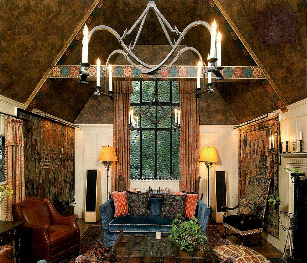 Mirrored Armoire Living Room Traditional with Faux Finish Glazed Woodwork Gothic Hand Painted Beams Masculine Old Spanish Style