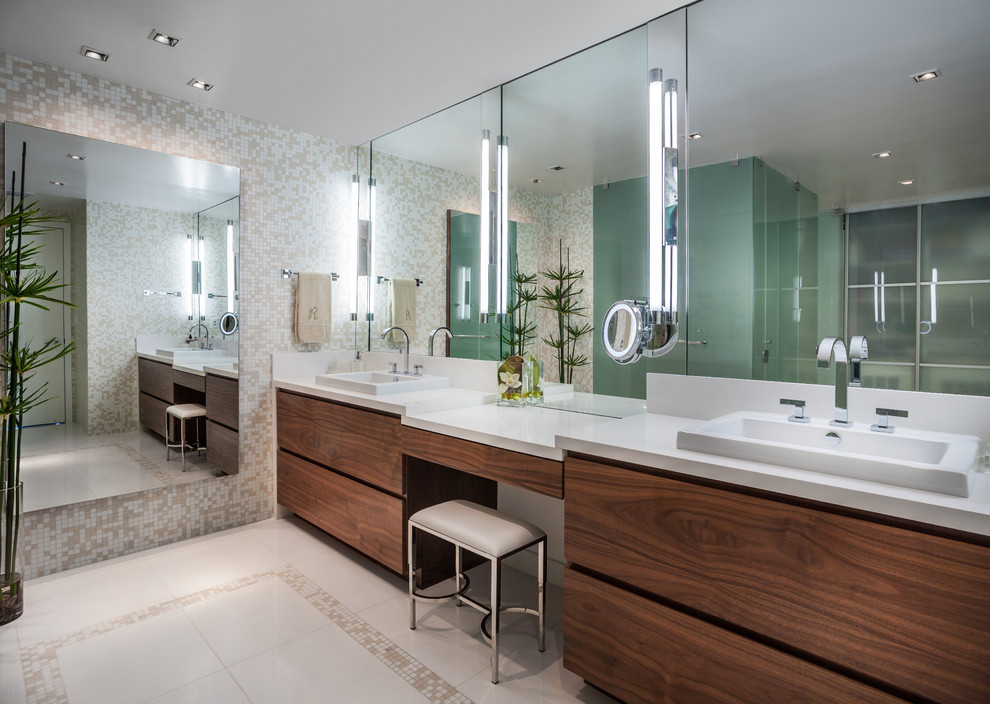 Mirrored Bathroom Vanity Bathroom Contemporary with Bisazza Custom Made Mosaic Tiles Bright Master Bathroom Double Sink Make Up Area