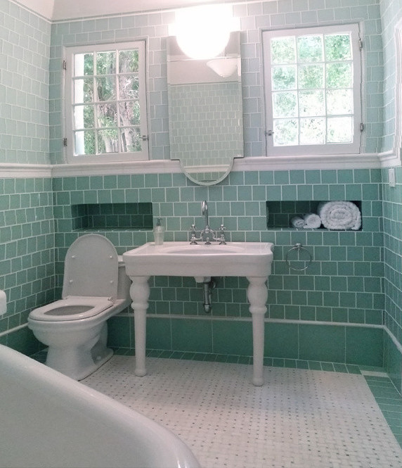 Mirrored Bathroom Vanity Bathroom Traditional with Airbath Ann Sacks Basket Weave Marble Tile Floor with Ming Green Dots