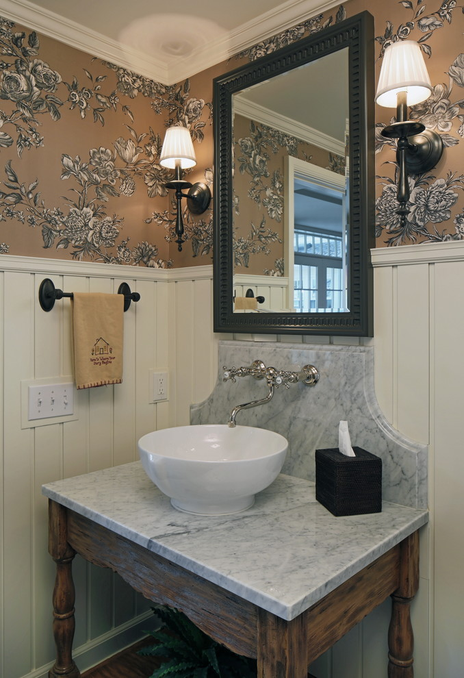 Mirrored Bathroom Vanity Powder Room Traditional with Bathroom Mirror Bathroom Vanity Crown Molding Floral Wallpaper Framed Freestanding Vanity Furniture