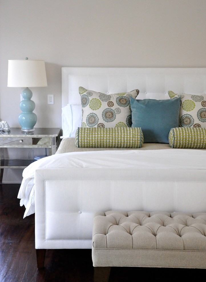Mirrored Bedside Table Bedroom Contemporary with Bedroom Blue Green Red Pink White White Upholstered Headboard