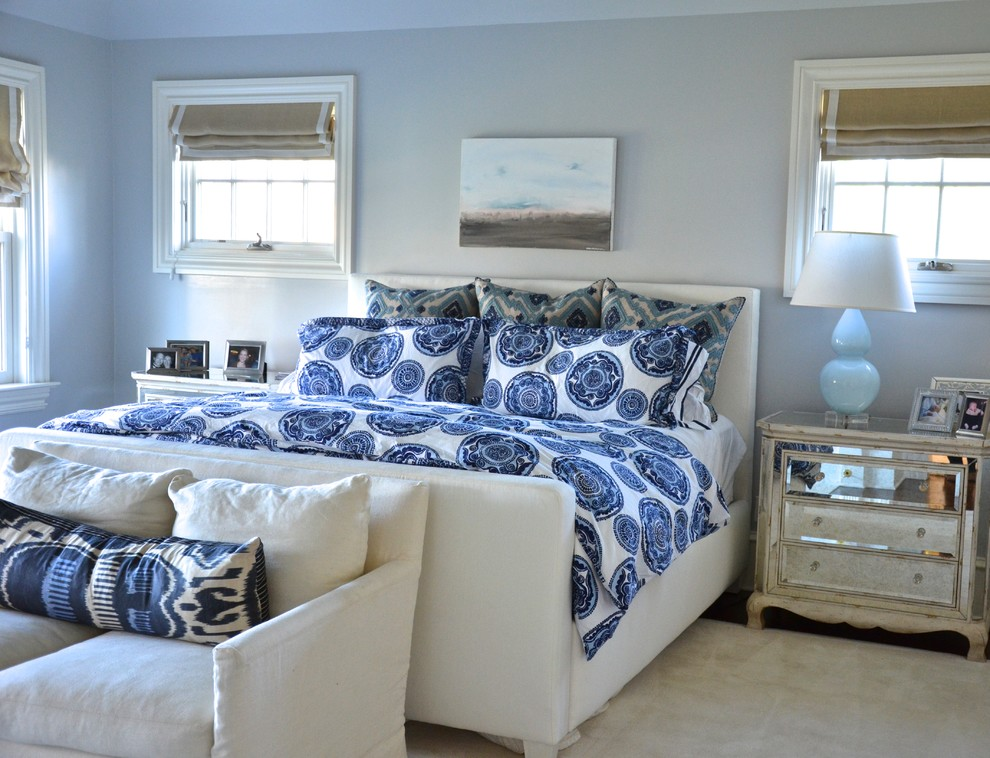 Mirrored Bedside Table Bedroom Eclectic with Airy Area Rug Beachy Bedside Table Blue Blue Bedding Bright Comfortable Foot