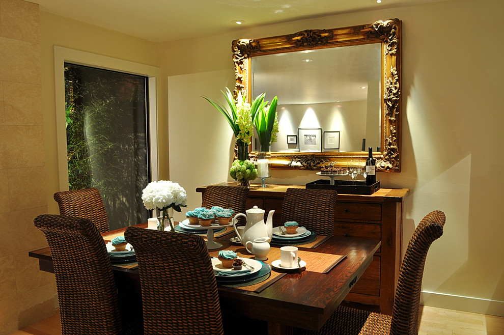Mirrored Buffet Dining Room Contemporary with Ceiling Lighting Floral Arrangement Framed View Gilded Mirror Recessed Lighting Seagrass Dining1