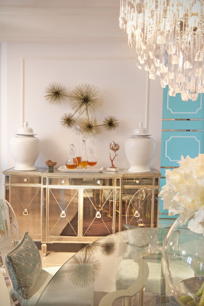 Mirrored Buffet Dining Room Eclectic with None