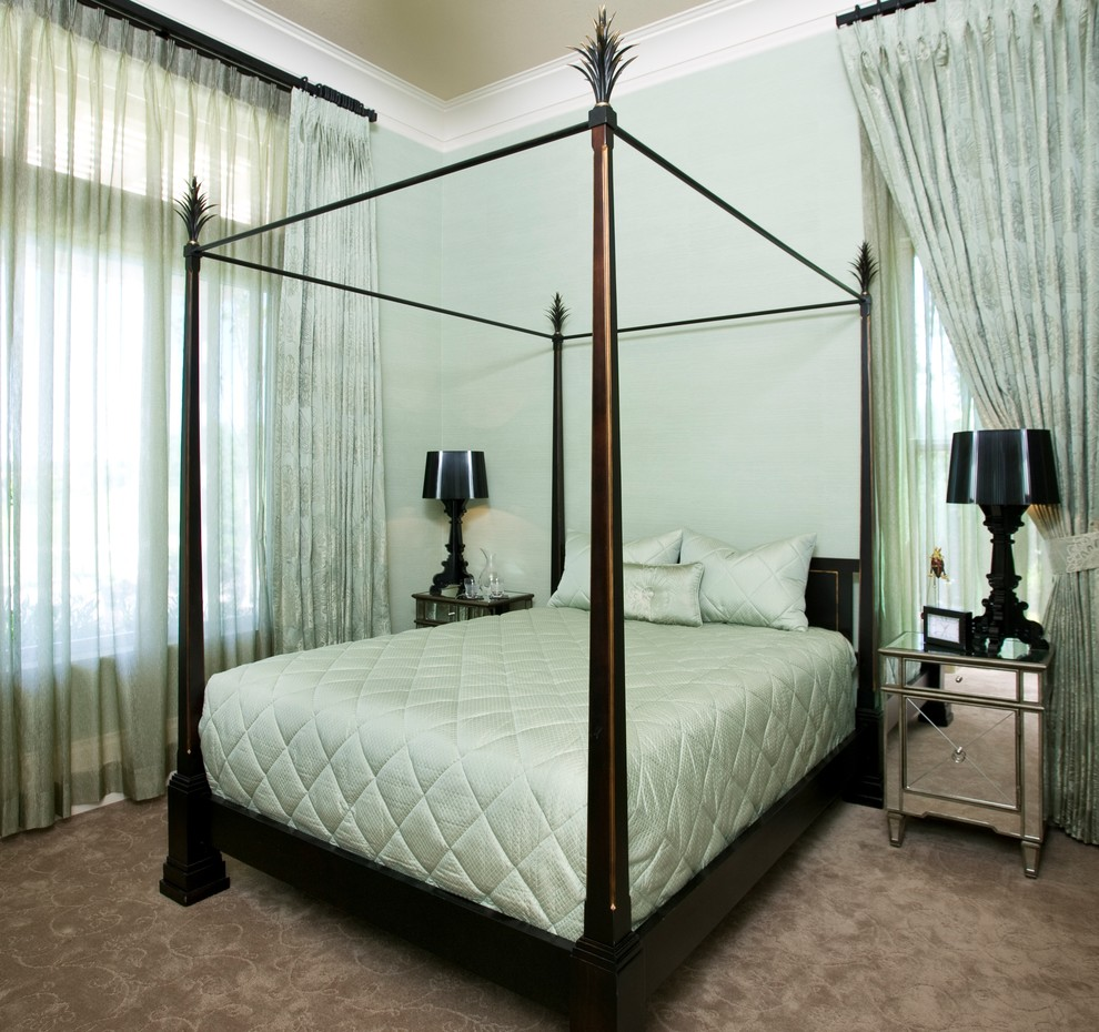 Mirrored Chest Bedroom Contemporary with Bedside Table Canopy Bed Crown Molding Curtains Drapes Four Poster Bed Green