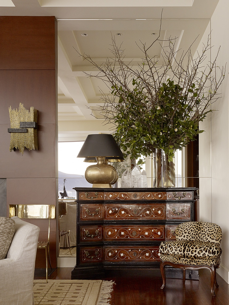 Mirrored Chest Living Room Contemporary with Art Commode Contemporary Curated Eclectic Gold Jaguar Lamp Leopard Marin Michael Taylor