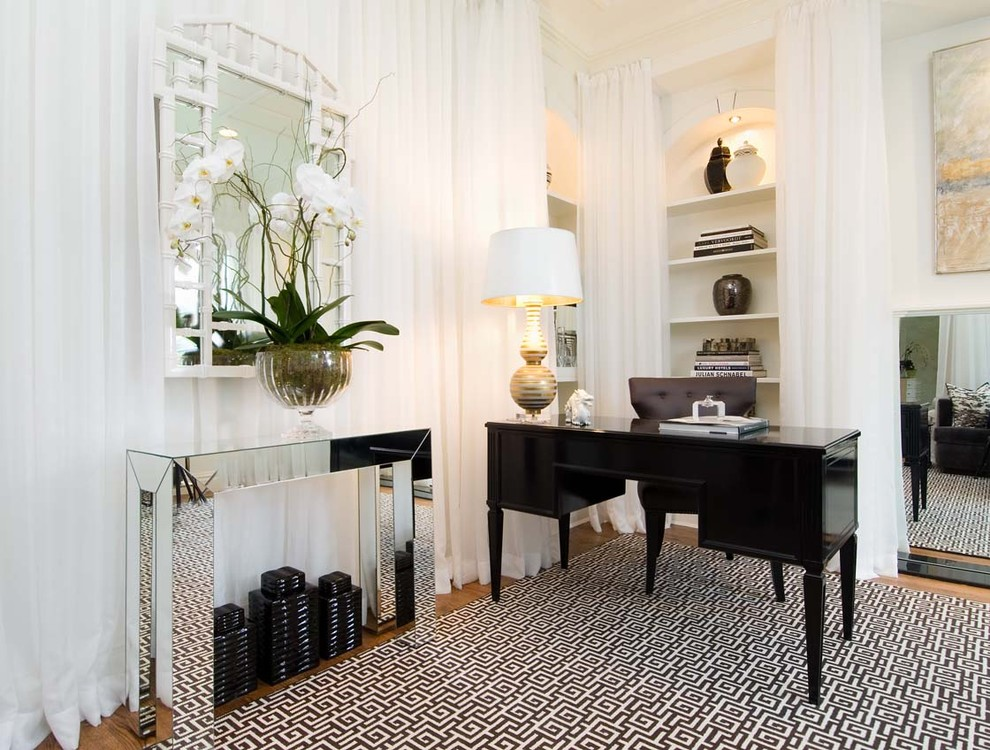 Mirrored Console Table Home Office Contemporary with Area Rug Artwork Bamboo Mirror Black and White Black Lacqered Desk Bookshelves