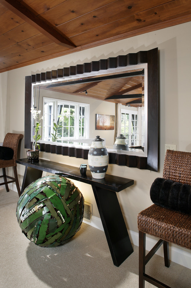 Mirrored Console Table Living Room Contemporary with Ball Baseboards Console Table Dave Adams Photography Exposed Beams Oversized Mirror Sculpture