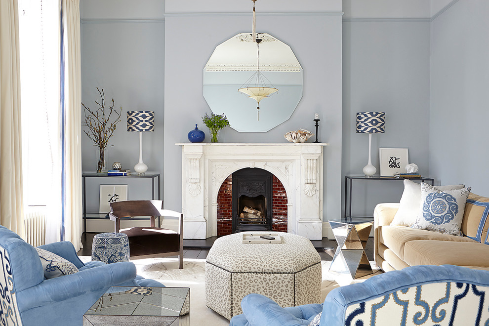 Mirrored Console Table Living Room Transitional with Animal Print Blue Blue Armchairs Blue Living Room Console Tables Fireplace Mantle