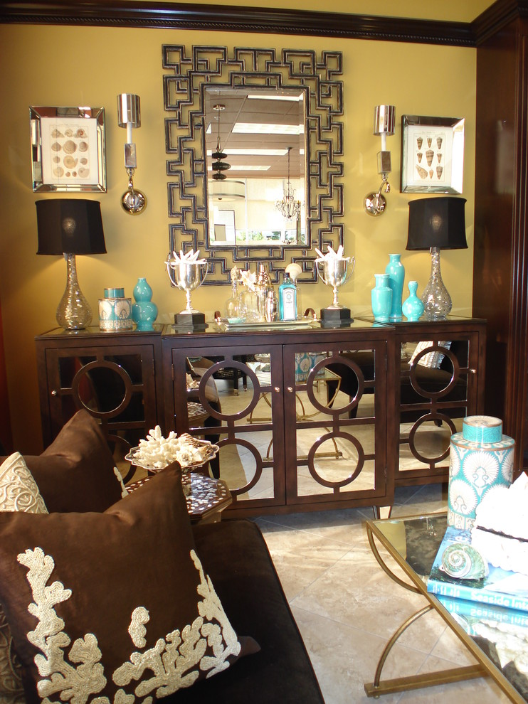 Mirrored Credenza Living Room Contemporary with Brown Buffet Chocolate Circles Console Coral Greek Key Hollywood Regency Mirror Mirrored