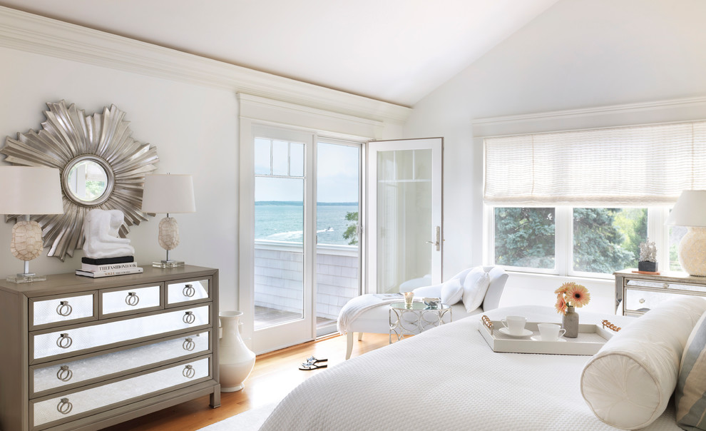 Mirrored Dresser Bedroom Beach with Balcony Chaise Lounge Crown Molding French Doors Mirrored Furniture Serving Tray Sloped