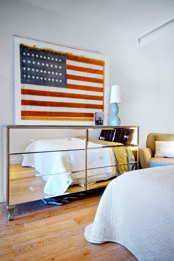 mirrored dresser Bedroom Contemporary with american flag arm chair cabriole leg coverlet glass pulls gold fringe green