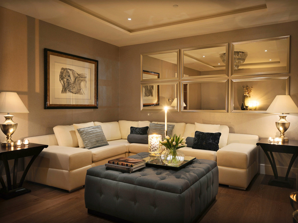mirrored end table Living Room Contemporary with artwork corner sofa cream sofa drawing gold lamps mirrors ottoman table lamps