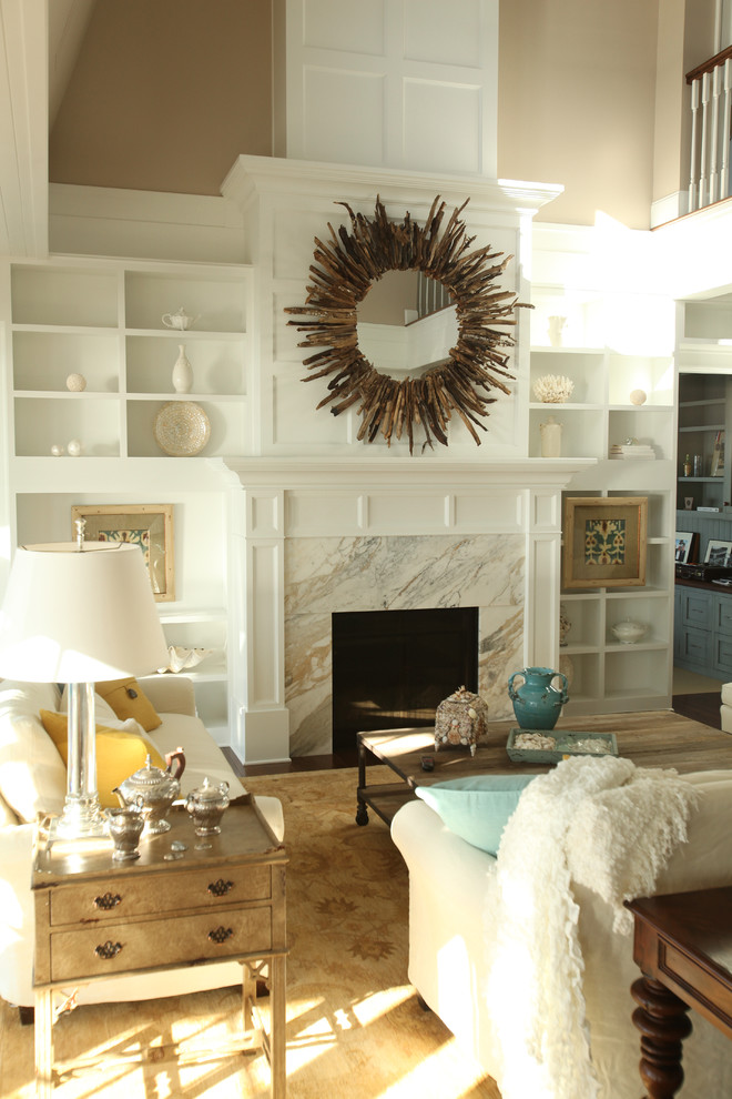 Mirrored End Table Living Room Transitional with Built in Shelves Built in Storage Decorative Pillows Driftwood Mirror End Table