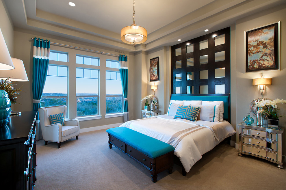 Mirrored Headboard Bedroom Contemporary with Art Blue Drapery Blue Drapes Built in Wall Detail Carpet Ceiling Detail Chandelier