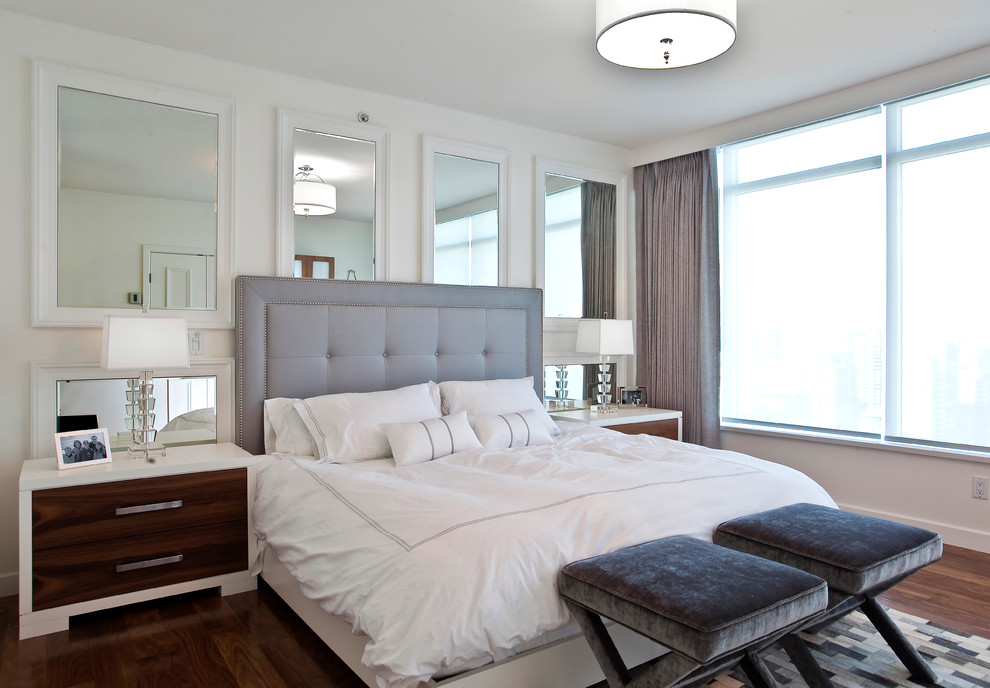 Mirrored Headboard Bedroom Contemporary with Area Rug Bench Seats Curtain Panel Dark Stained Wood Drum Shade Duvet