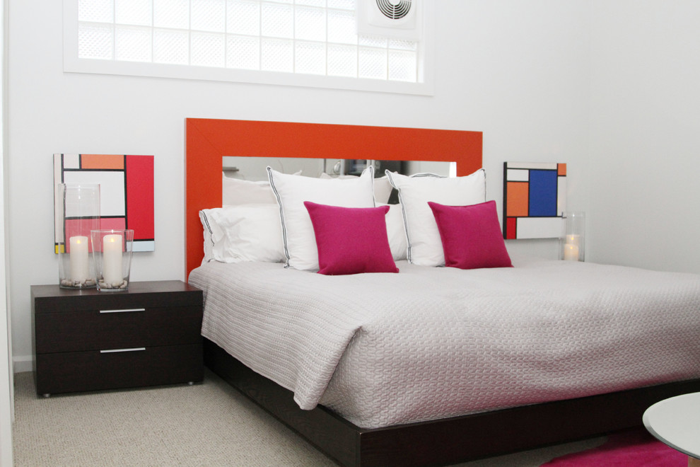 mirrored headboard Bedroom Contemporary with black nightstand bright colors carpeting gray carpet light gray bedding mirrored headboard