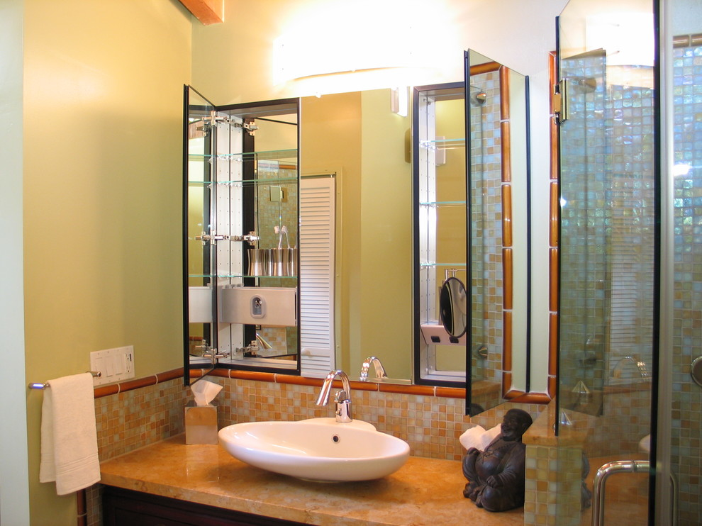 Mirrored Medicine Cabinet Bathroom Asian with Bathroom Mirror Buddha Statue Built Ins Frameless Shower Glass Shower Medicine Cabinets