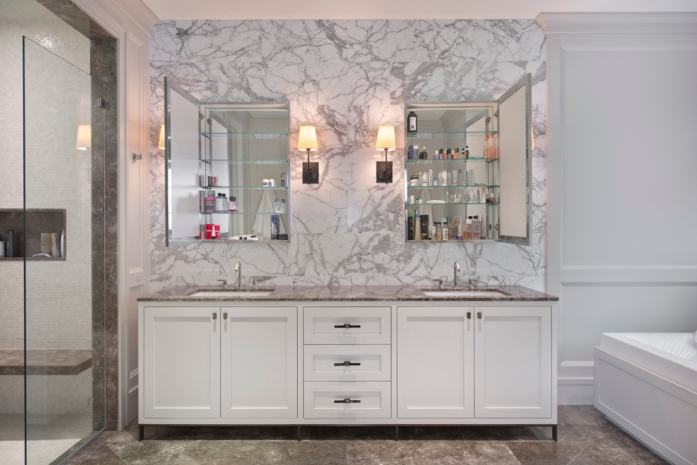 Mirrored Medicine Cabinet Bathroom Contemporary with Bathroom Storage Double Medicine Cabinets Double Sinks Glass Shower Door His And