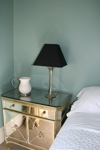 Mirrored Night Stand Bedroom Eclectic with Black Shade on Bashed Metal Lamp Stand Faded Elegance Glass Green Italian