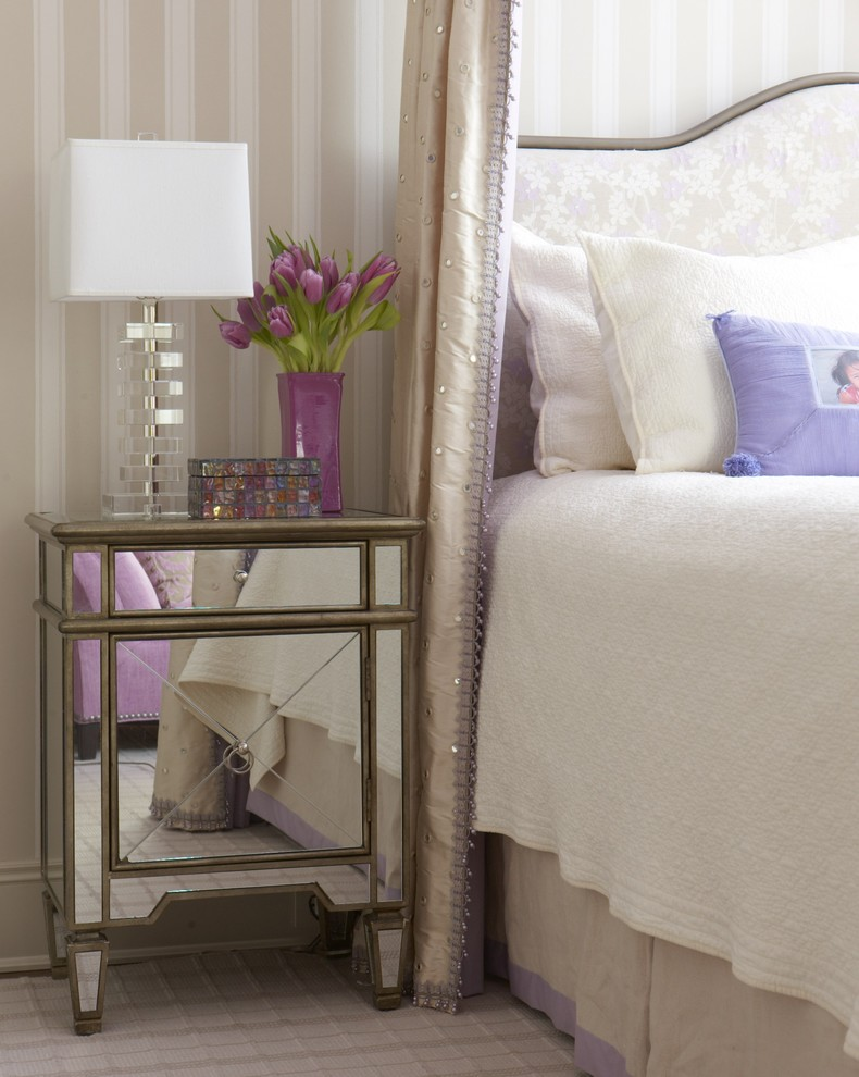 Mirrored Nightstand Bedroom Traditional with None
