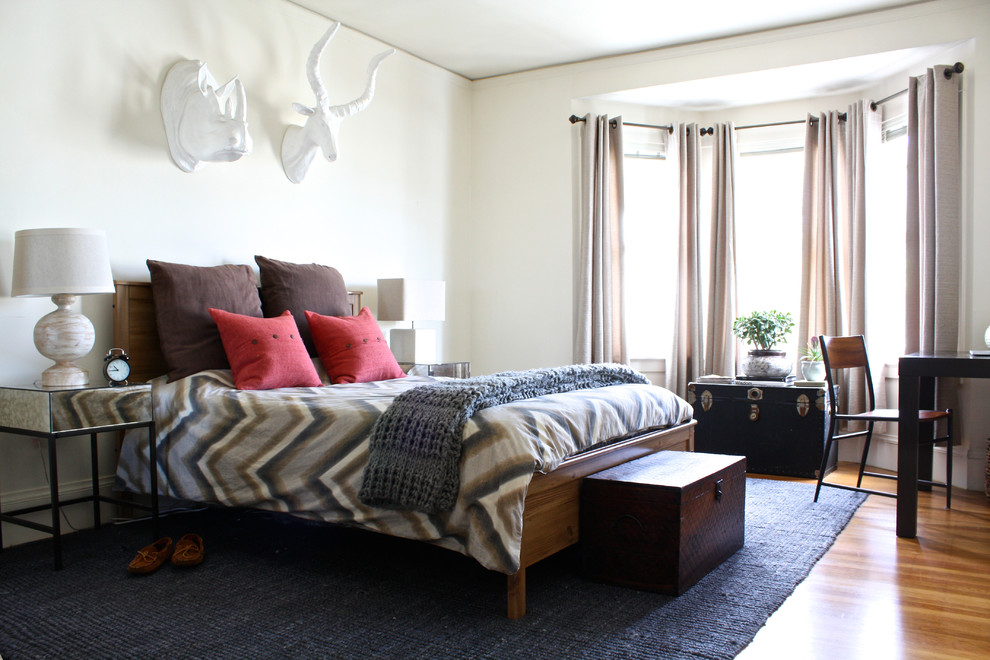 Mirrored Nightstand Bedroom Transitional with Alarm Clock Bedroom Desk Beige Table Lamp Black Rug Brown Pillows Button