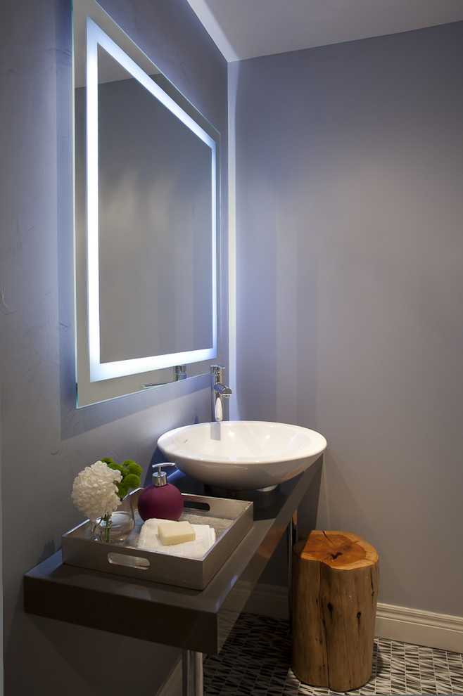 Mirrored Tray Powder Room Contemporary with Baseboards Bath Accessories Bathroom Mirror Contemporary Floating Vanity Gray Walls Illuminated Mirror