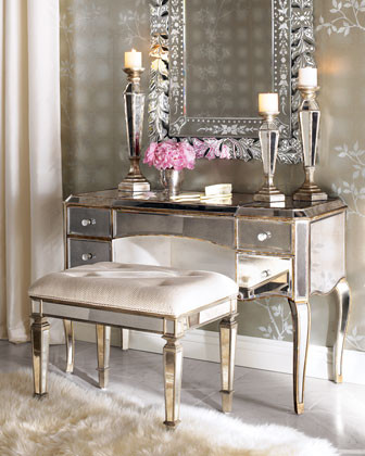 Mirrored Vanity Desk Bedroom Traditional with None