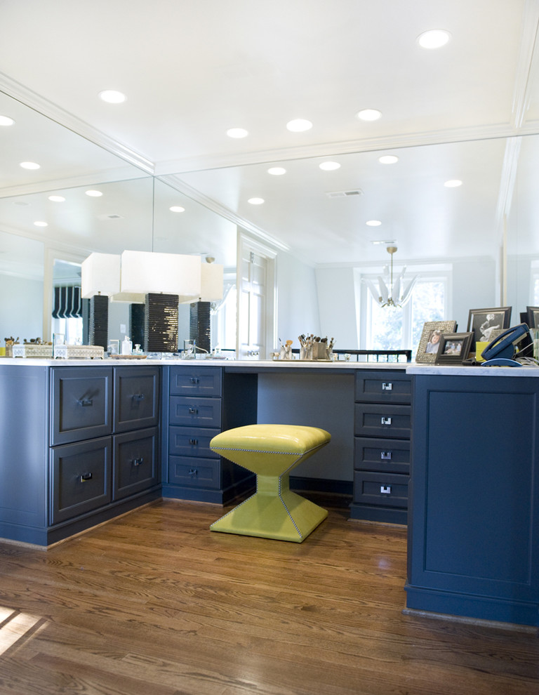 Mirrored Vanity Desk Closet Traditional with Accent Colors Bold Colors Boudoir Bright Colors Ceiling Lighting Dark Blue Cabinets