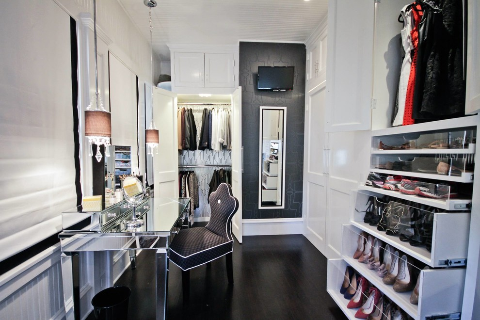 mirrored vanity desk Closet Transitional with beadboard built in dark wood floors mirrored desk pendant light shoe shelves