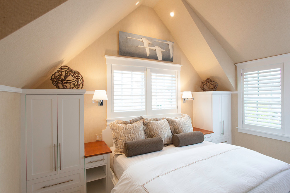 Modern Armoire Bedroom Beach with Bar Pulls Beach Bedroom Built in Bed Casing Dormer Nantucket Pitched Roof Plantation