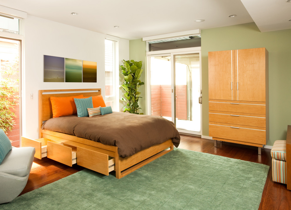 Modern Armoire Bedroom Contemporary with Blue Pillows Brown Duvet Drawers Under Bed Flat Panel Cabinet Light Green