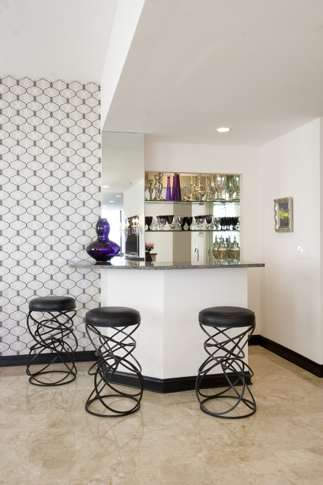 Modern Barstools Family Room Eclectic with Artwork Bar Area Black Baseboards Floor Tile Home Bar Mirrored Modern Barstools