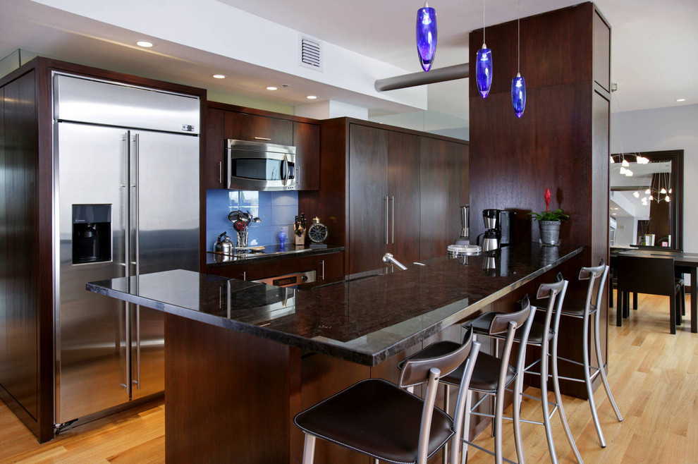modern barstools Kitchen Contemporary with blue backsplash blue pendant lights breakfast bar dark wood cabinets hardwood floors