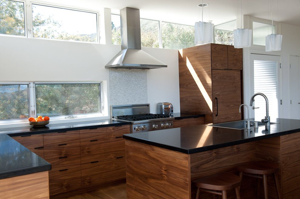 modern cabinet pulls Kitchen Contemporary with awning windows black countertops breakfast bar cabinet-front refrigerator Clerestory eat in kitchen