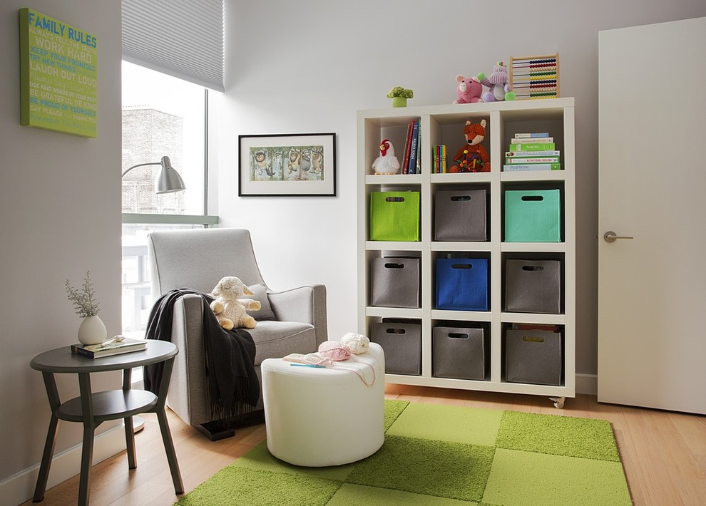 Modern Glider Nursery Contemporary with Bookcase Bright Colors Colorful Accents Condominium Glider Green Architect Modern Condo Renovation