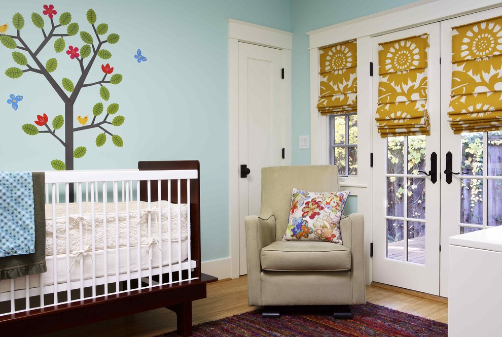 modern glider Nursery Eclectic with argington Art baby baby bed Baby Room boy butterfly Butterfly Mural crib