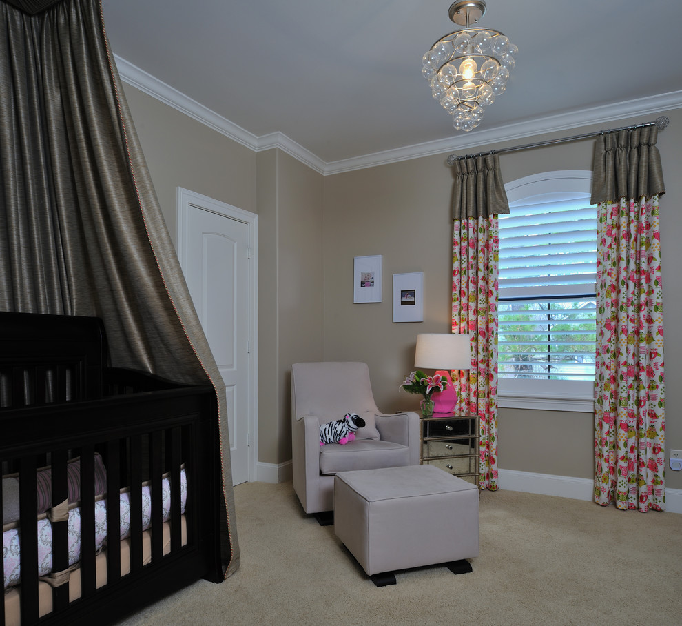 Modern Glider Nursery Modern with Bubble Light Fixture Crib Crib Canopy Curtains Drapes Girls Room Glider Mirrored