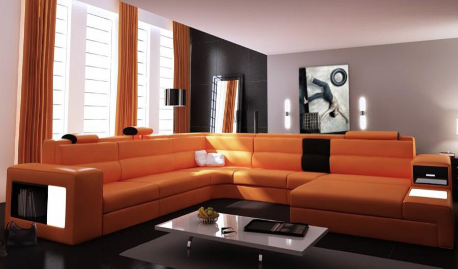Modern Leather Sectional Family Room Modern with Bonded Leather Built in Bookshelf Durable High Quality Large Sectionals Modern Modern